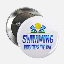 """Swimming Brightens the Day 2.25"""" Button"""