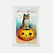 Halloween Owl & Pumpkin Rectangle Magnet