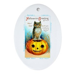 Halloween Owl & Pumpkin Oval Ornament