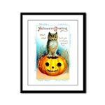 Halloween Owl & Pumpkin Framed Panel Print