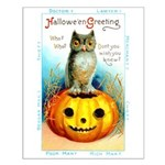 Halloween Owl & Pumpkin Small Poster