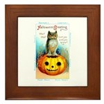 Halloween Owl & Pumpkin Framed Tile