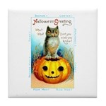 Halloween Owl & Pumpkin Tile Coaster