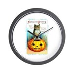 Halloween Owl & Pumpkin Wall Clock