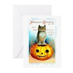 Halloween Owl & Pumpkin Greeting Cards (Pk of 20)