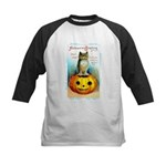 Halloween Owl & Pumpkin Kids Baseball Jersey