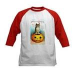 Halloween Owl & PUmpkin (Front) Kids Baseball Jers