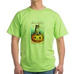 Halloween Owl & PUmpkin (Front) Green T-Shirt