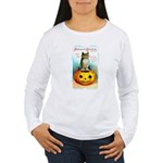 Halloween Owl & PUmpkin (Front) Women's Long Sleev