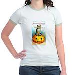 Halloween Owl & PUmpkin (Front) Jr. Ringer T-Shirt