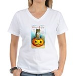 Halloween Owl & PUmpkin (Front) Women's V-Neck T-S
