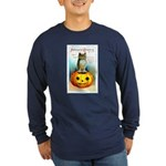 Halloween Owl & PUmpkin (Front) Long Sleeve Dark T
