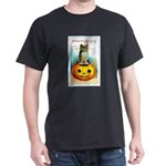 Halloween Owl & PUmpkin (Front) Dark T-Shirt