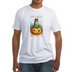 Halloween Owl & PUmpkin (Front) Fitted T-Shirt