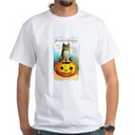 Halloween Owl & PUmpkin (Front) White T-Shirt