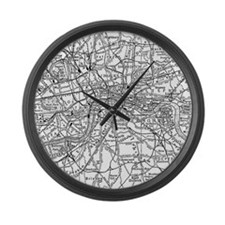 Vintage Map of London England (19 Large Wall Clock