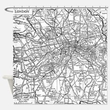 Vintage Map of London England (1911 Shower Curtain