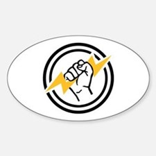Flash hand electrician Sticker (Oval)
