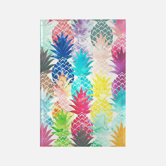 Hawaiian Pineapple Pattern Tropic Rectangle Magnet
