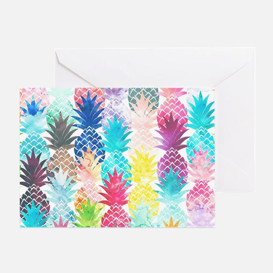 Hawaiian Pineapple Pattern Tropical  Greeting Card