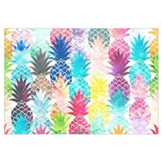Hawaiian Pineapple Pattern Tropical Watercolor Framed Print