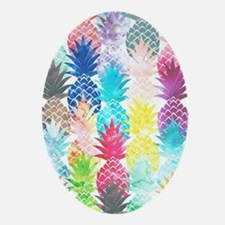 Hawaiian Pineapple Pattern Tropical  Oval Ornament