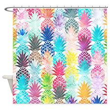 Hawaiian Pineapple Pattern Tropical Shower Curtain