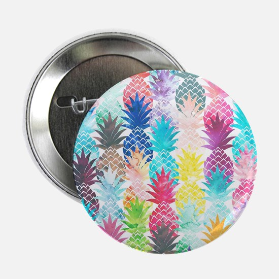 "Hawaiian Pineapple Pattern Tropical W 2.25"" Button"