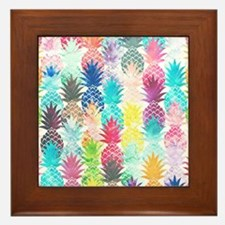 Hawaiian Pineapple Pattern Tropical Wa Framed Tile