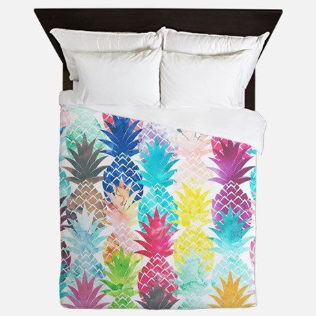 Hawaiian Pineapple Pattern Tropical Wa Queen Duvet
