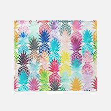 Hawaiian Pineapple Pattern Tropical  Throw Blanket