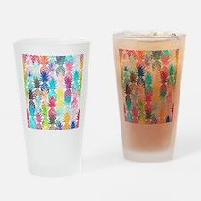 Hawaiian Pineapple Pattern Tropical Drinking Glass