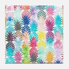 Hawaiian Pineapple Pattern Tropical W Tile Coaster