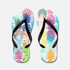 Hawaiian Pineapple Pattern Tropical Wat Flip Flops