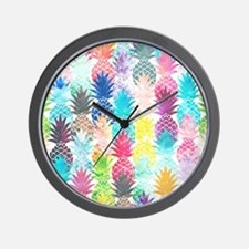 Hawaiian Pineapple Pattern Tropical Wat Wall Clock