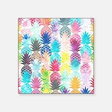 """Hawaiian Pineapple Pattern  Square Sticker 3"""" x 3"""""""