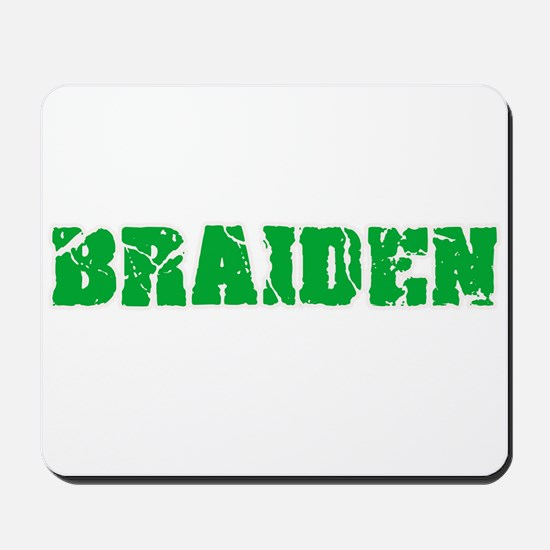 Braiden Name Weathered Green Design Mousepad