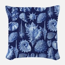 Vintage Seashells Woven Throw Pillow