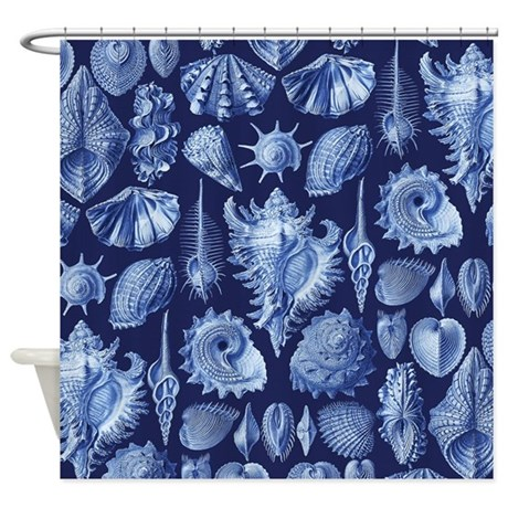 vintage seashells blue shower curtain