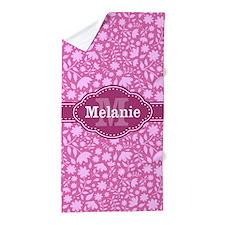 Pink Floral Pattern With Monogram Beach Towel