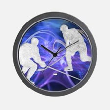 Ice Hockey Players Fighting for the Puc Wall Clock