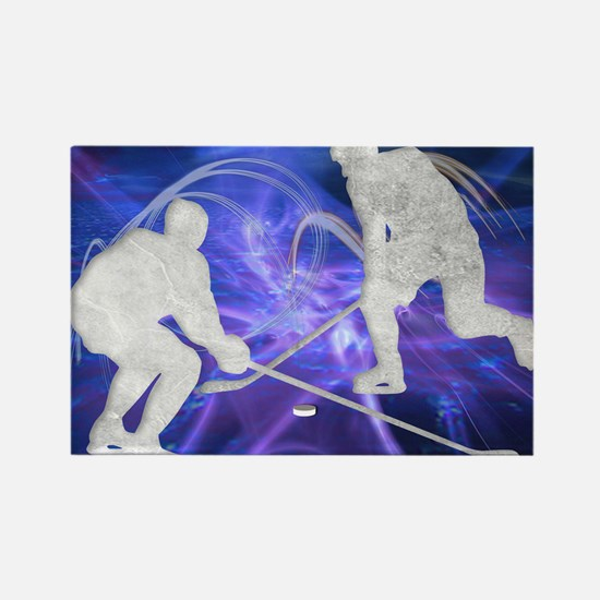 Ice Hockey Players Fighting for t Rectangle Magnet