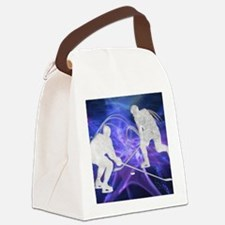 Ice Hockey Players Fighting for t Canvas Lunch Bag