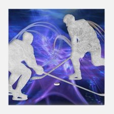 Ice Hockey Players Fighting for the P Tile Coaster
