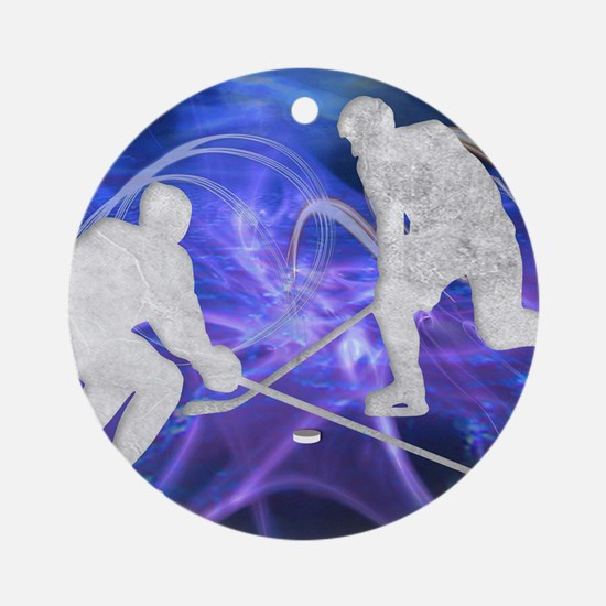 Ice Hockey Players Fighting for the Round Ornament