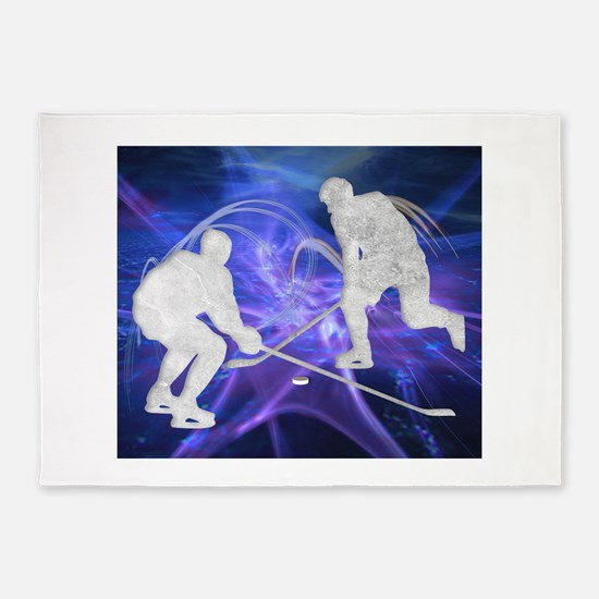 Ice Hockey Players Fighting for the 5'x7'Area Rug