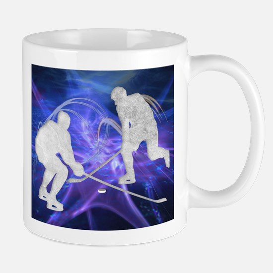 Ice Hockey Players Fighting for the Puck Mugs