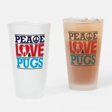Peace Love And Pugs Drinking Glass