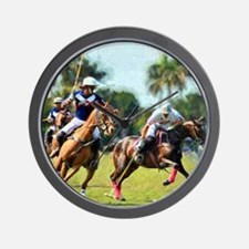 Polo Players and Ponies Wall Clock