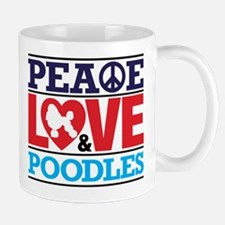 Peace Love and Poodles Mugs